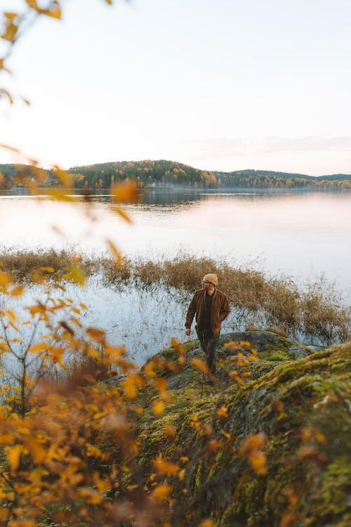 Woman in Brown Jacket Standing on Green Grass Field Near Lake