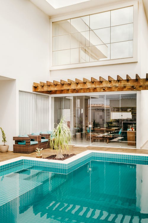 Contemporary design of resort hotel with swimming pool