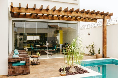 Stylish exterior of resort house patio