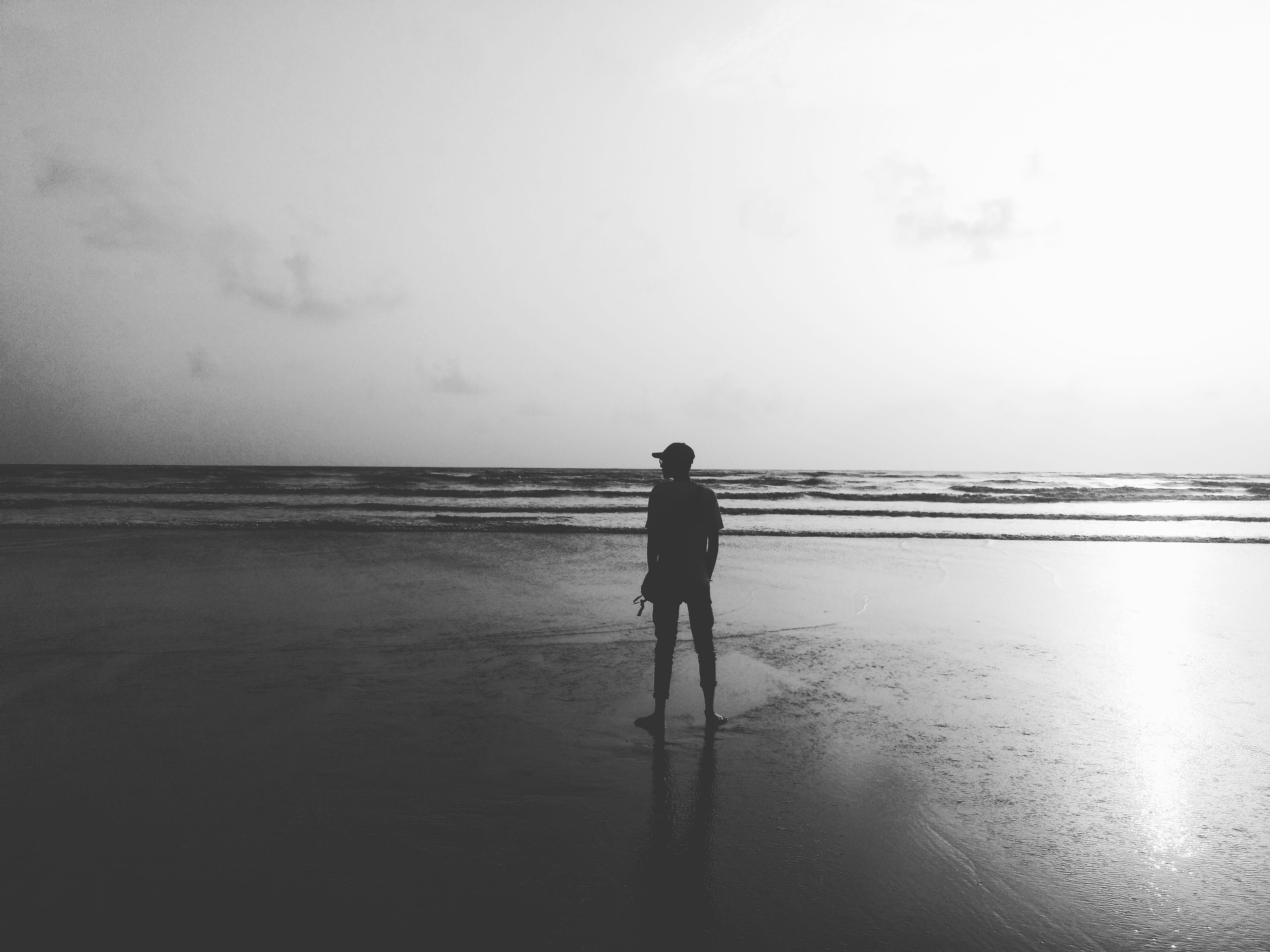 Free stock photo of beach, black and white, HD wallpaper, shades