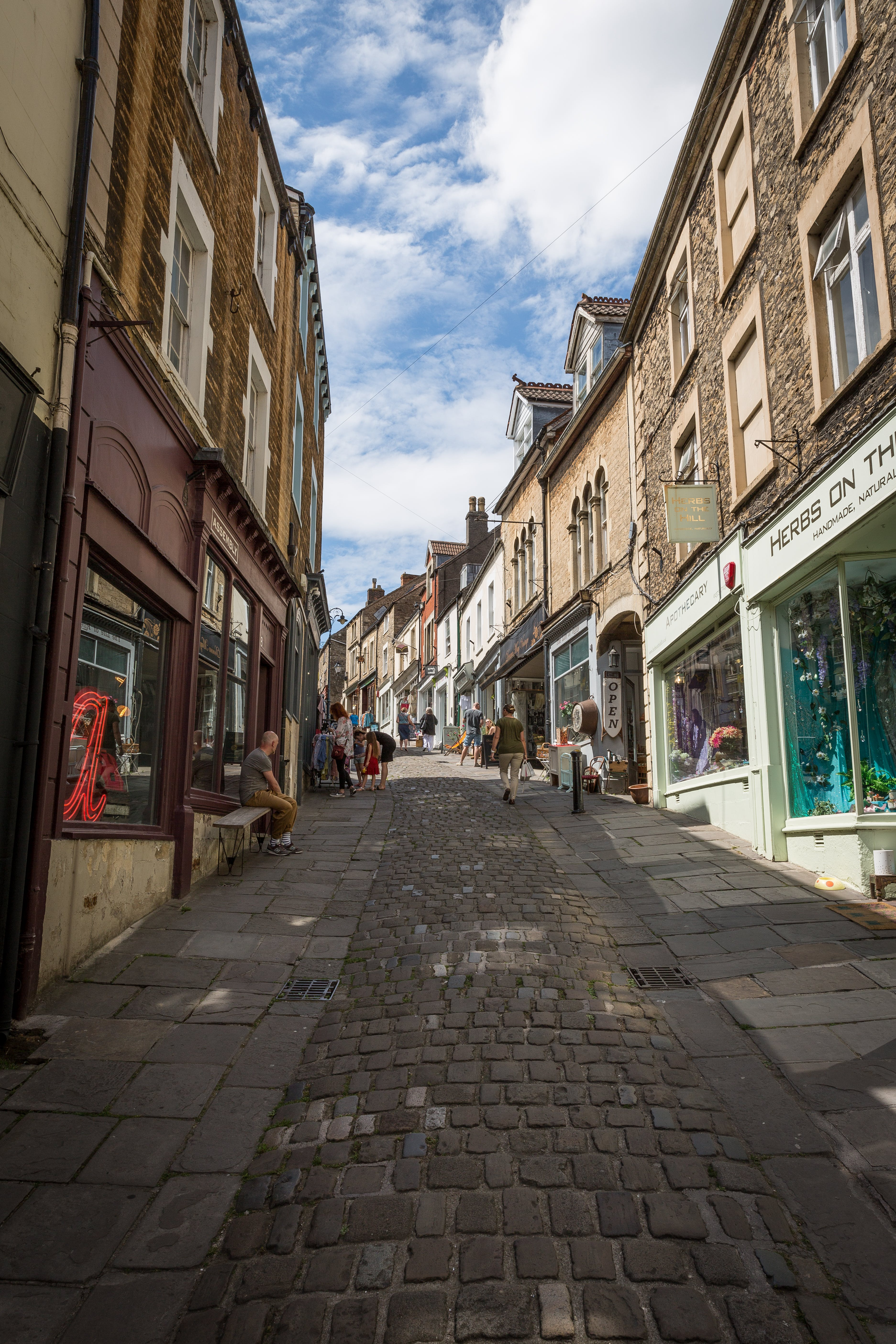 Free stock photo of cobbles, cobblestone street, frome, highstreet