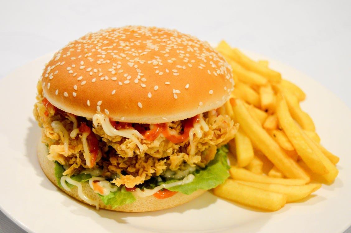 Ilmainen kuvapankkikuva tunnisteilla burger fries, burgeri, crispy burger