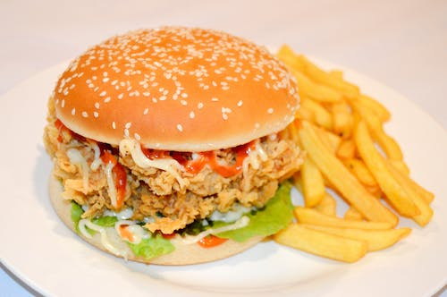 Free stock photo of burger, burger with fries, chicken burger