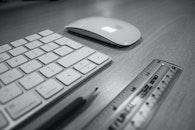 black-and-white, apple, desk