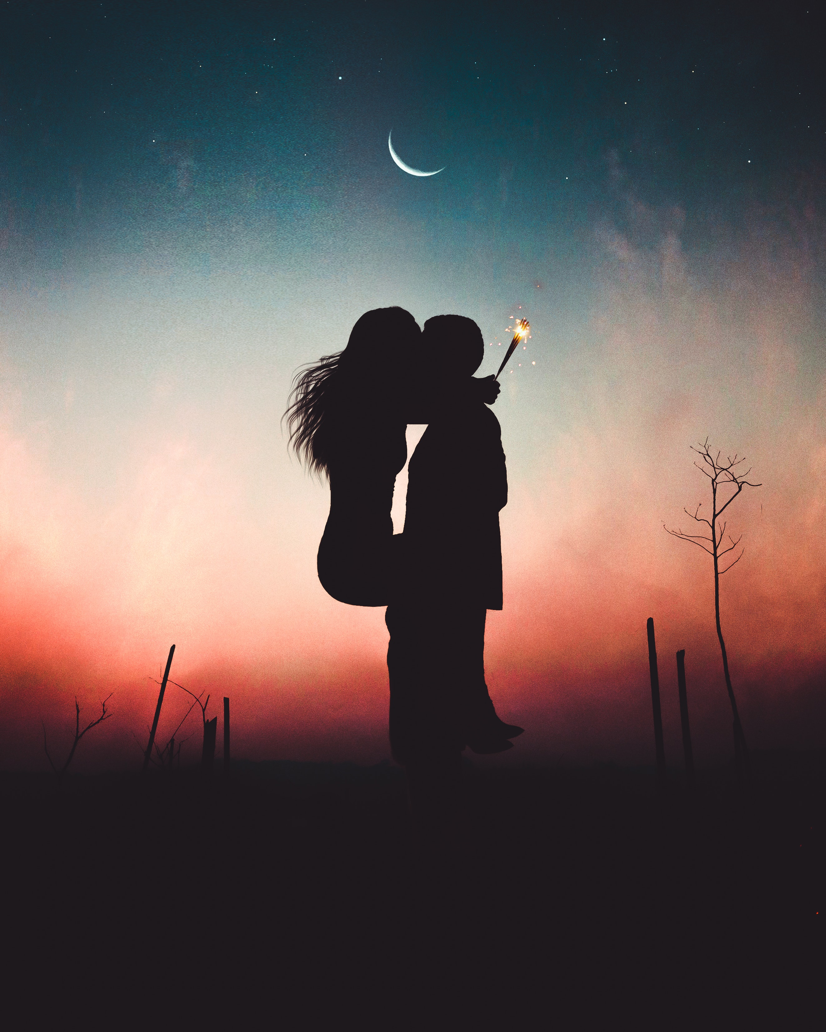 Silhouette of Kissing Couple · Free Stock Photo