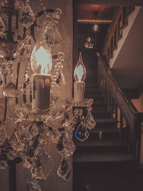 Free stock photo of candle light, chandelier, dark and moody