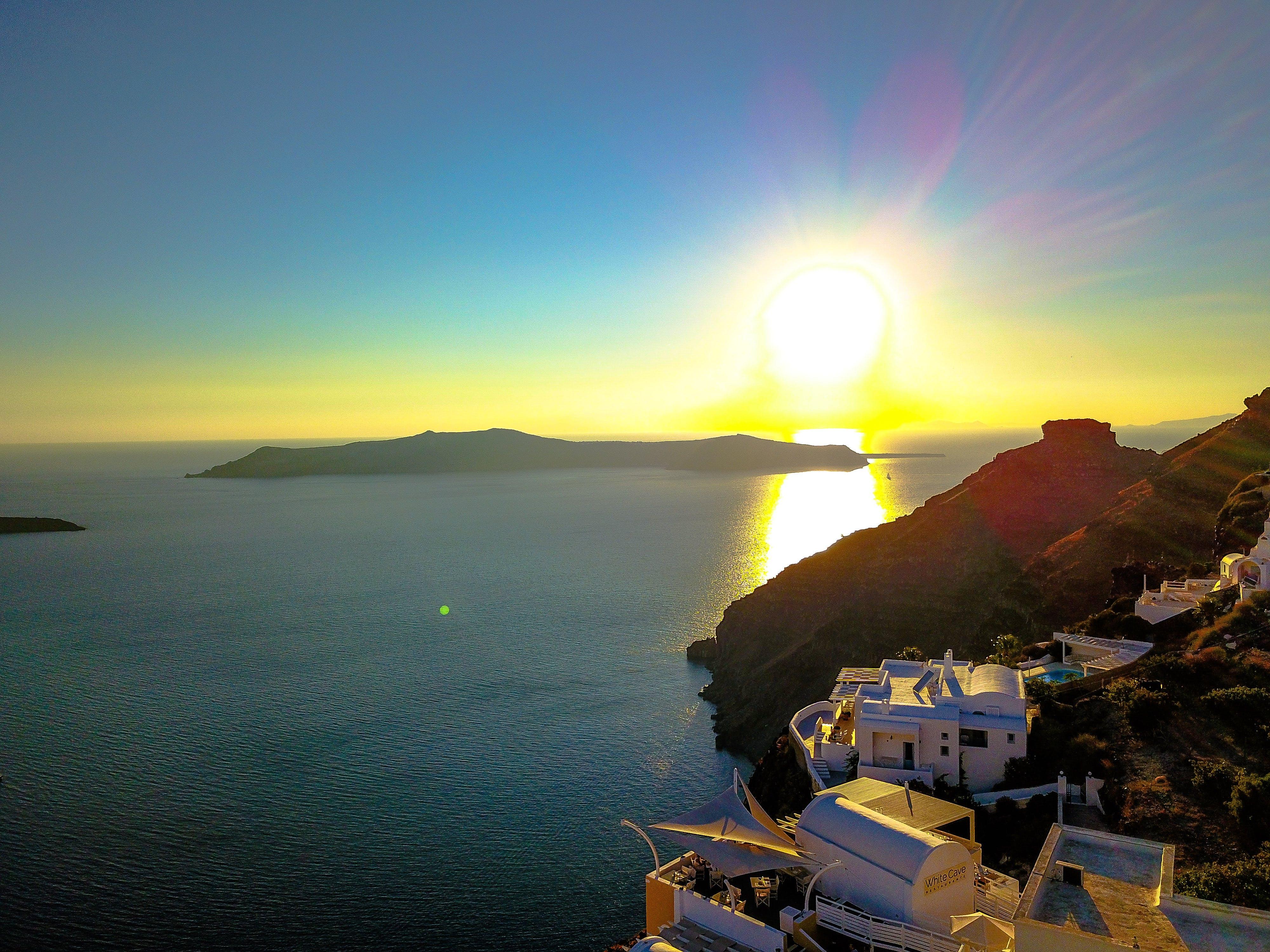 Gratis lagerfoto af dronekamera, fredelig, Grækenland, santorini