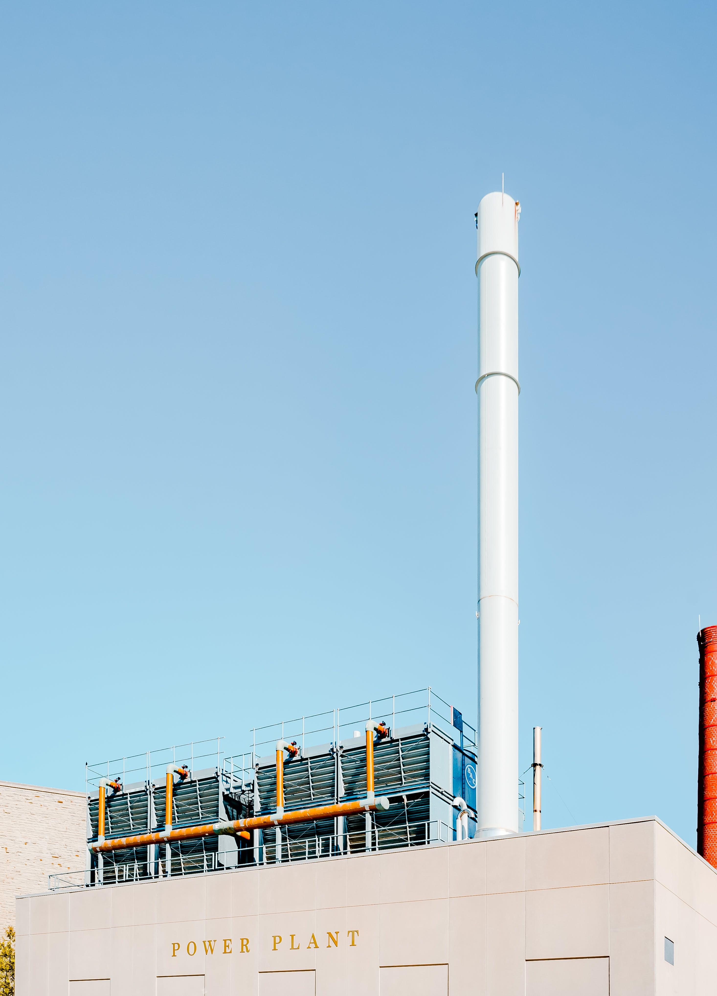 White Power Plant Chimney