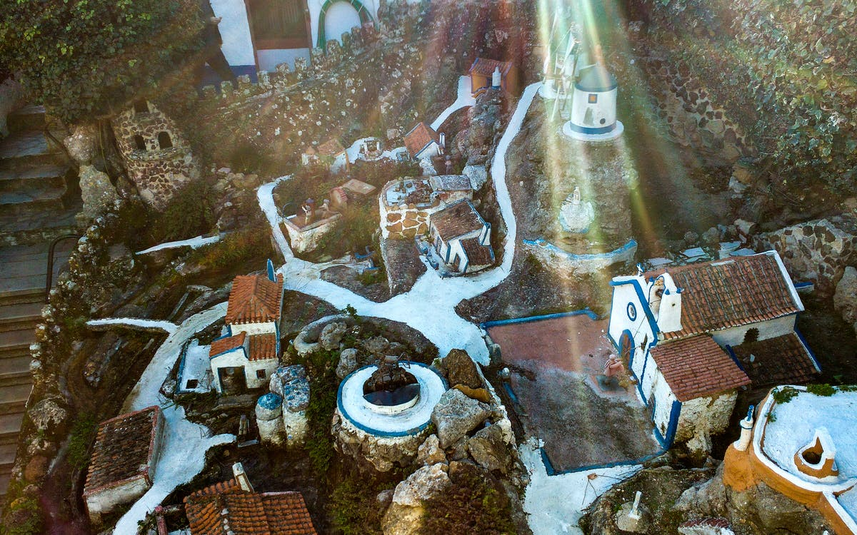 miniature, stone, village