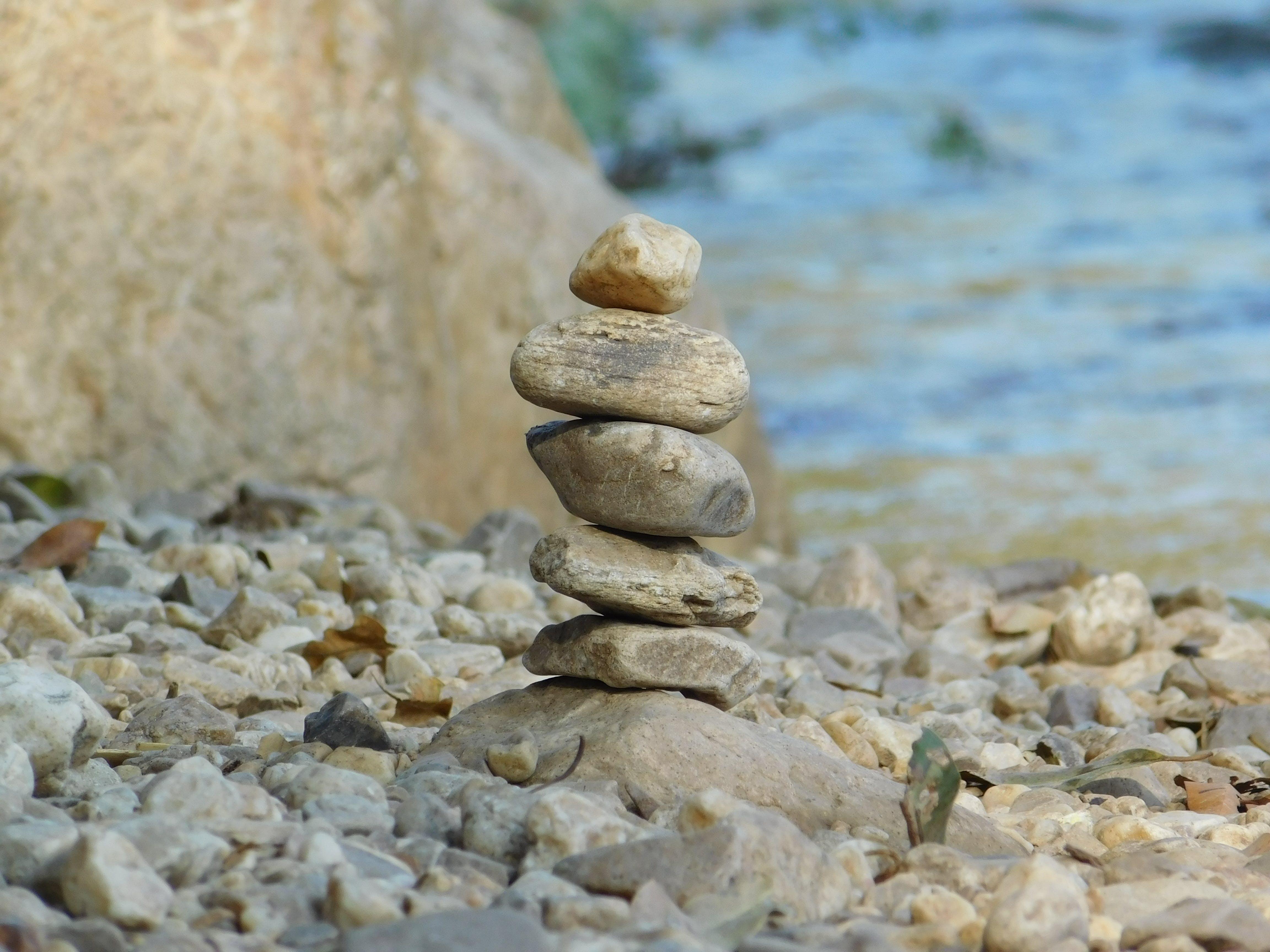 pebbles, river, rocks
