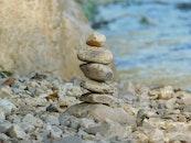 rocks, stack, river