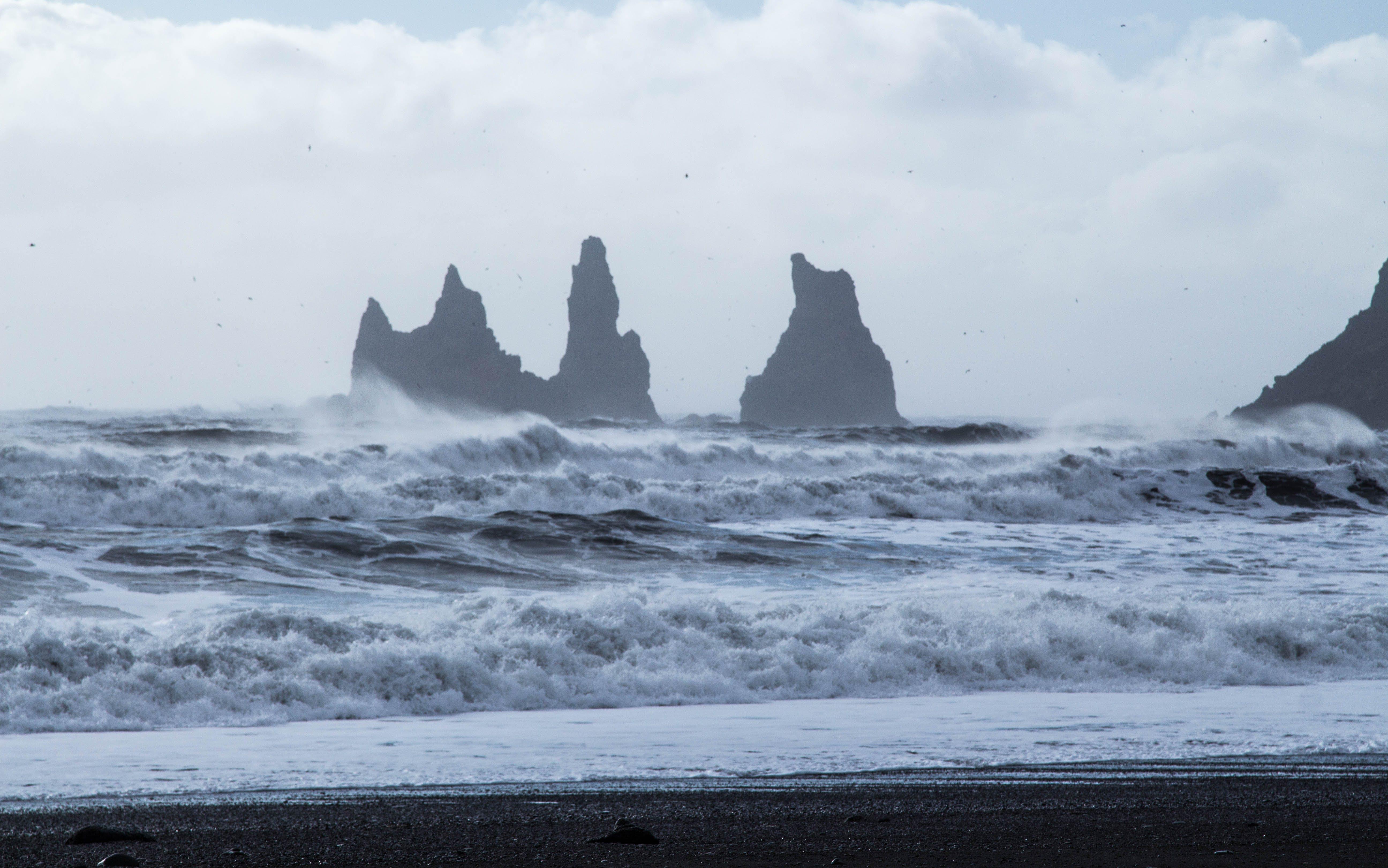 Ocean Waves Near on Beach Shore