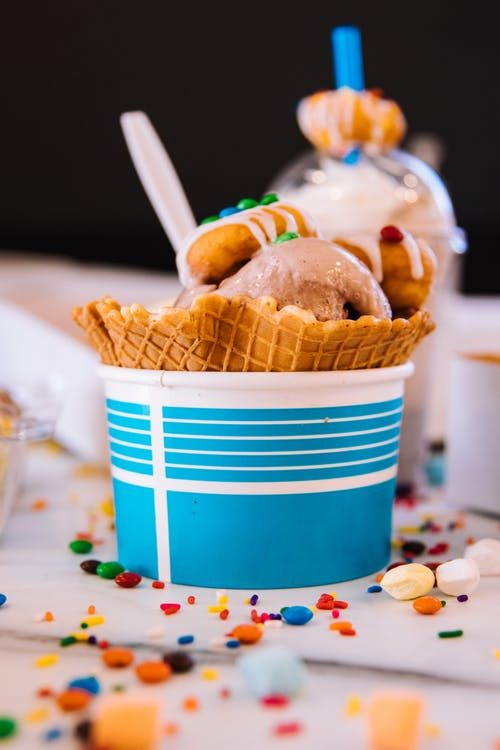 Ice Cream in Blue and White Ice Cream Cup
