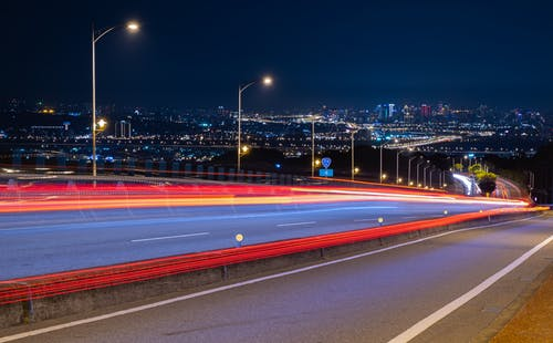 Time-Lapse Photography of a Highway at Night