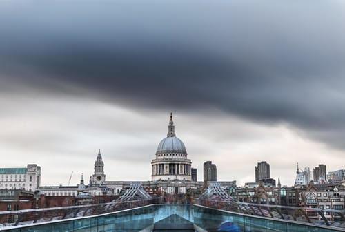 Blue and White Dome Building Under Cloudy Sky