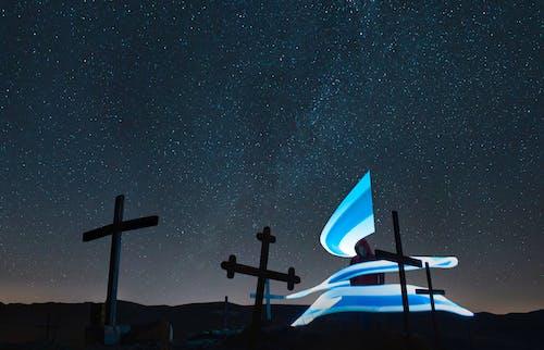 Free stock photo of blue, Christ, lightpaiting, men