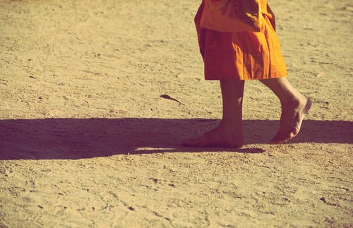 Free stock photo of barefoot, Buddhism, monk, orange