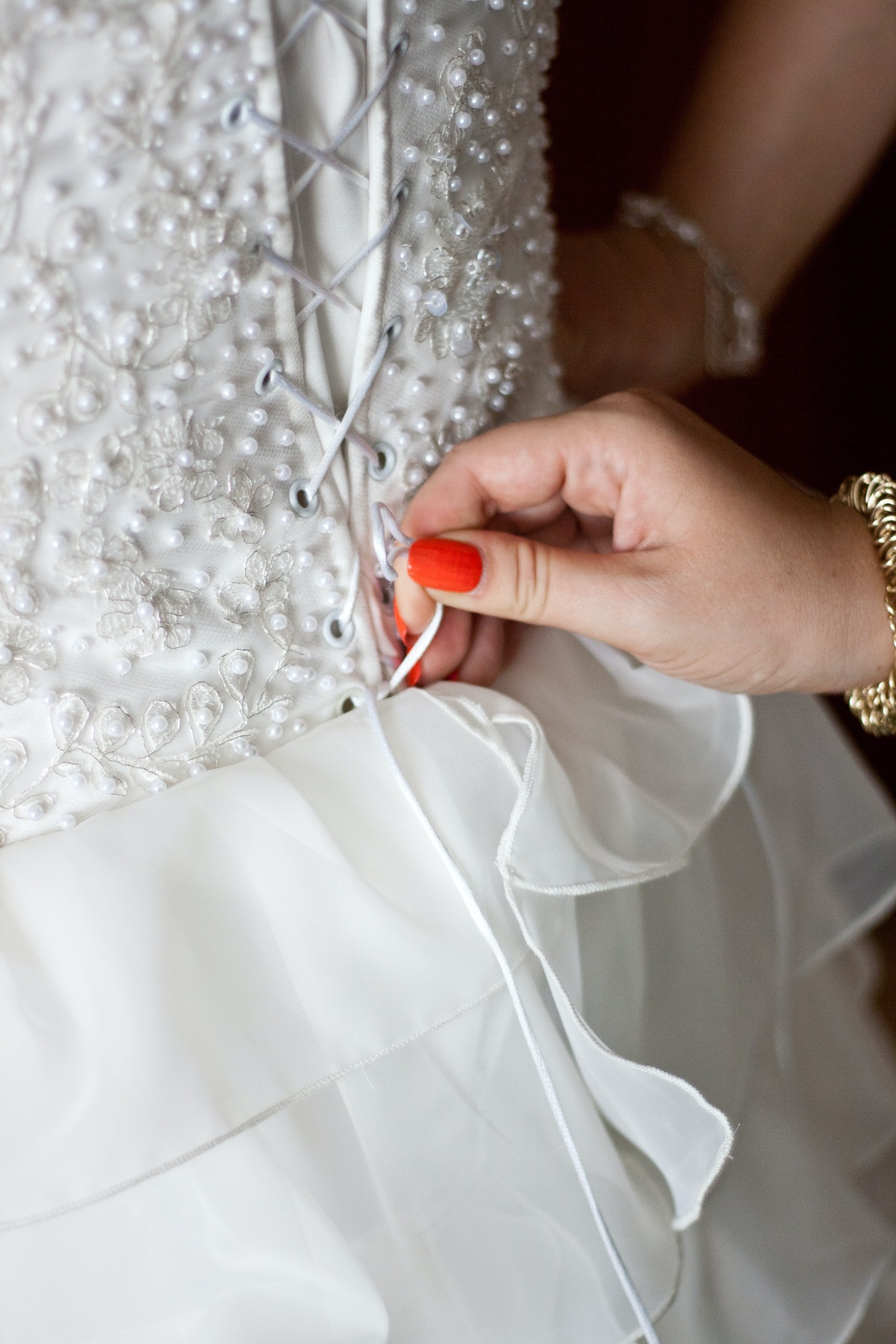 Tie a corset back wedding dress 183 free stock photo