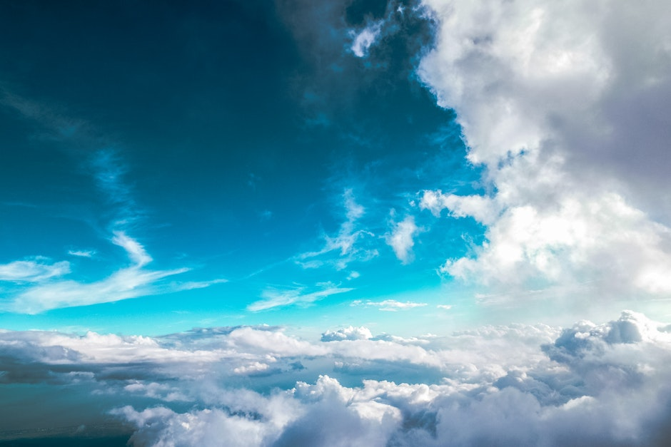 blue sky, clouds, flying