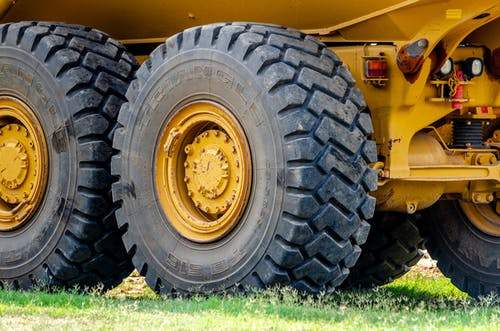 Yellow and Black Utility Truck Wheel