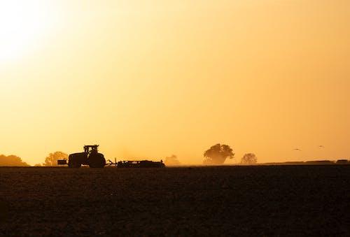 Silhouette of Truck on Field