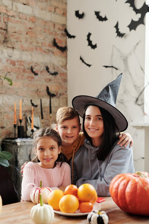 Portrait Of A Family With Halloween Background