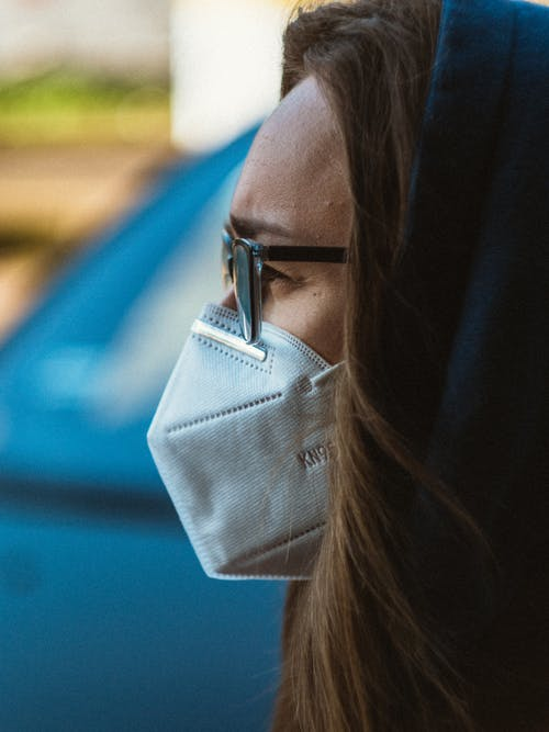Woman in protective mask looking away
