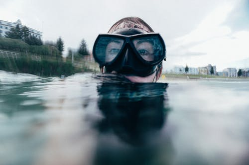 Person Wearing Goggles in Water