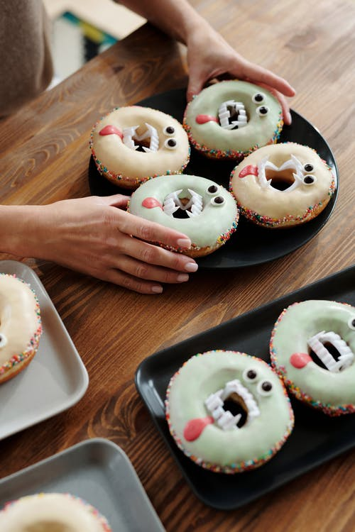 Spooky Donuts On A Plate