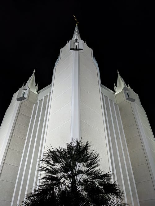 Low-Angle Shot of San Diego California Temple during Nighttime