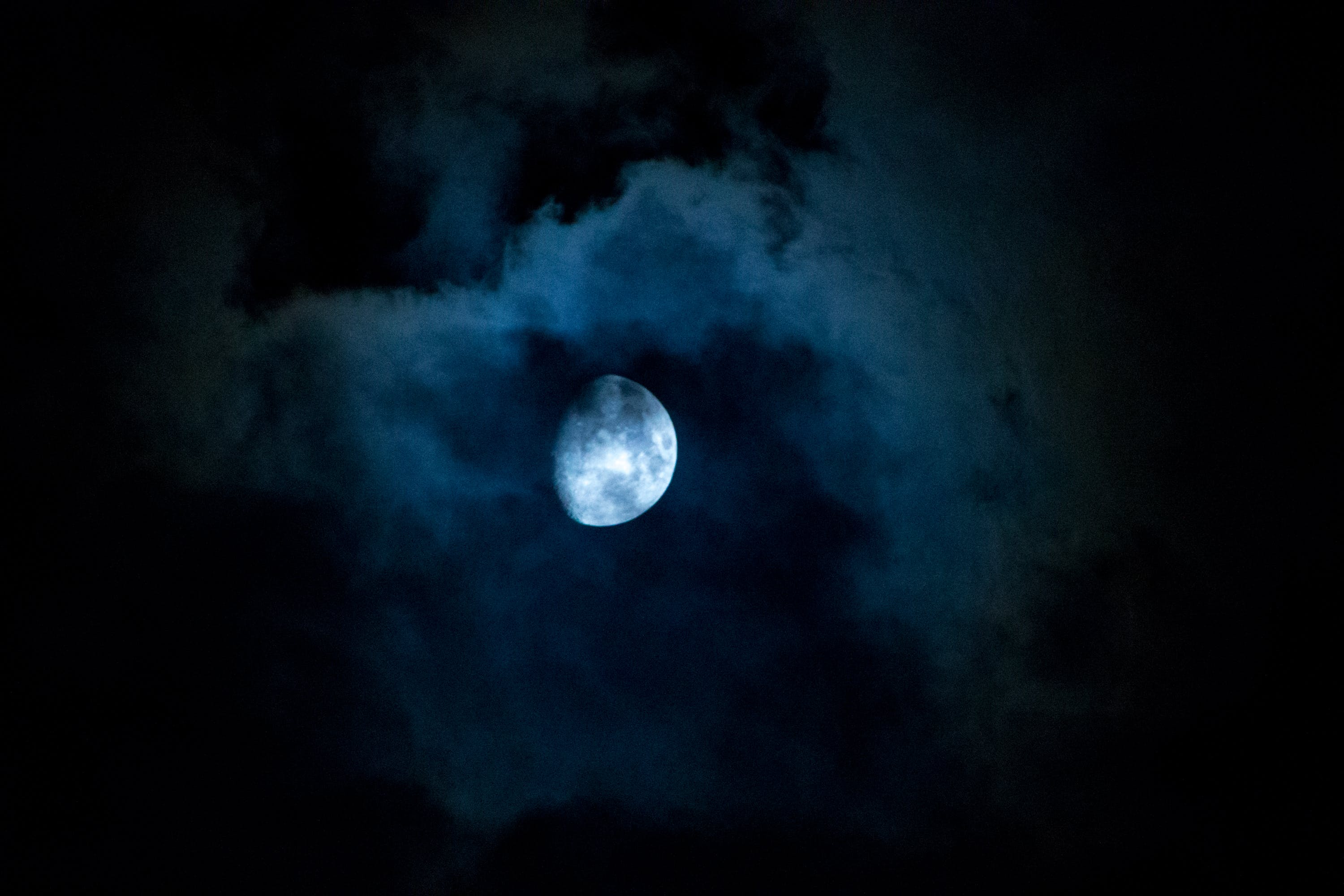 Free stock photo of clouds, half, moon, night