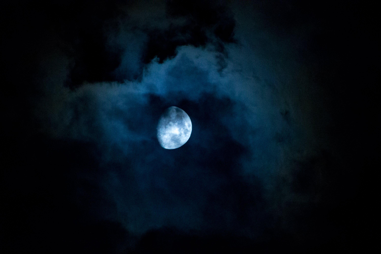 Free stock photo of night, clouds, moon, half