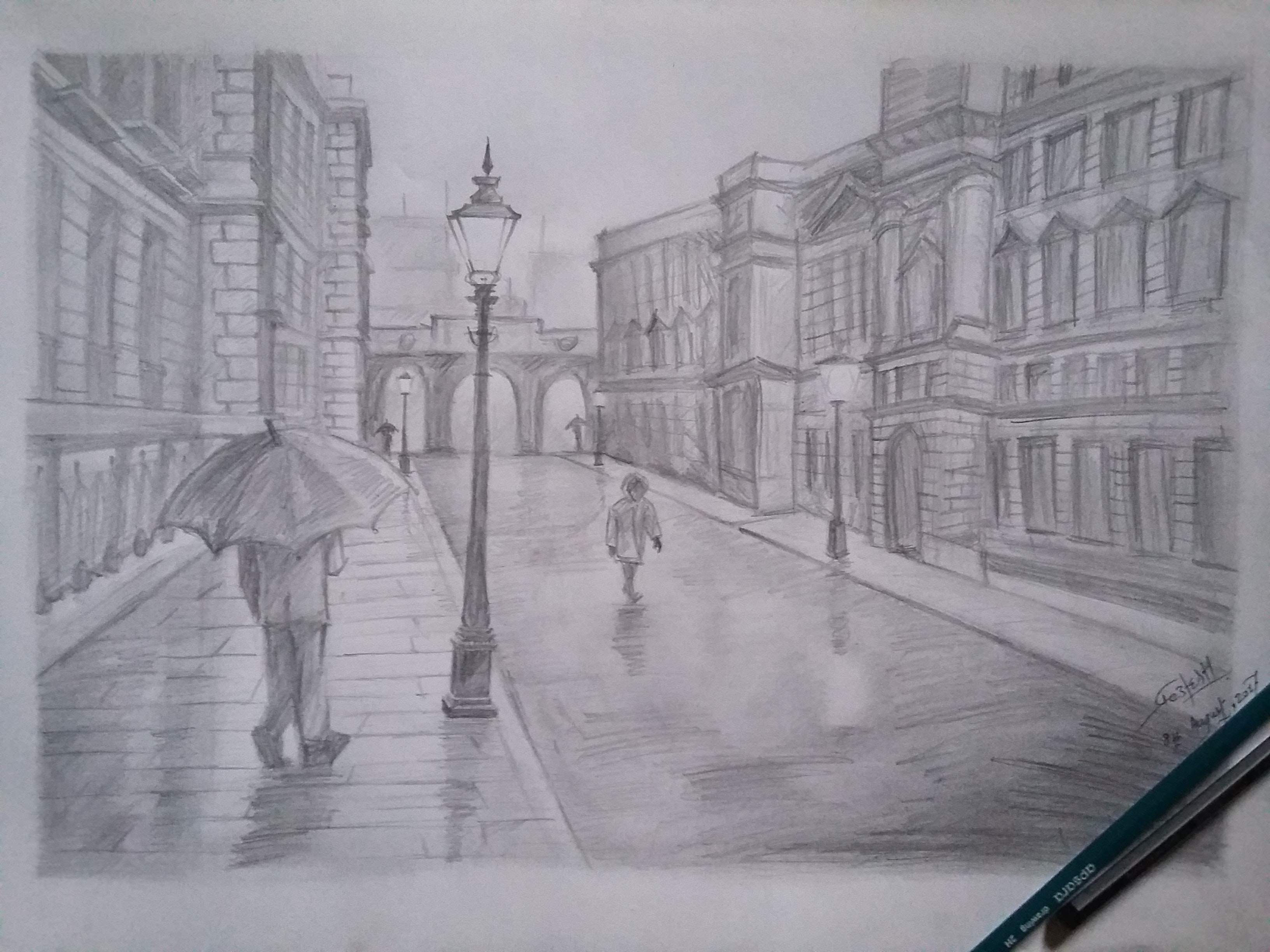 Free stock photo of drawing pencil rain