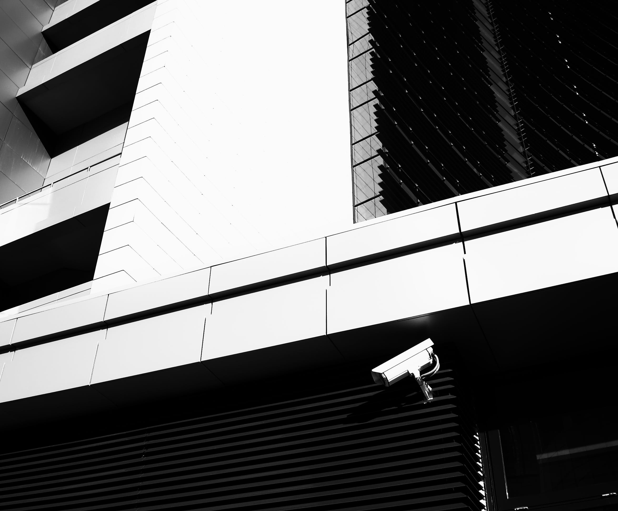 black-and-white, building, camera