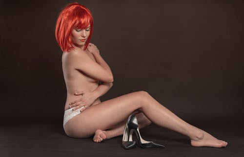 Red Hair Woman in Nude Art Photoshoot