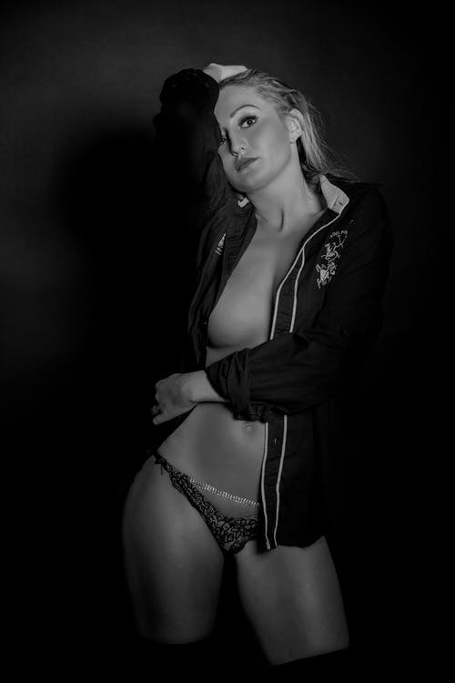 Woman in Opened Jacket and Panty