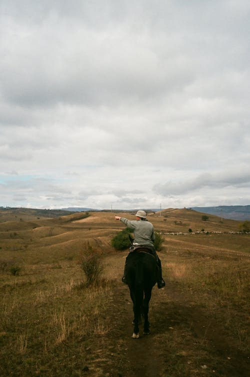 Unrecognizable man riding horse on hilly meadow on overcast day