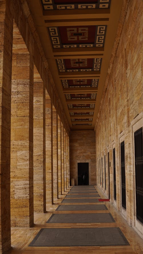 Corridor of old stone building with ornament