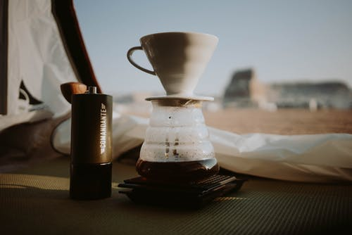 Pour over coffee in camping tent