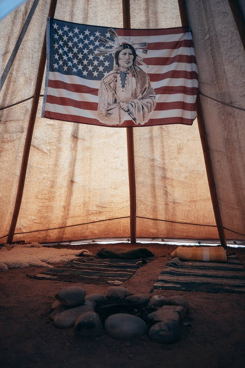 Tent with flag on fabric