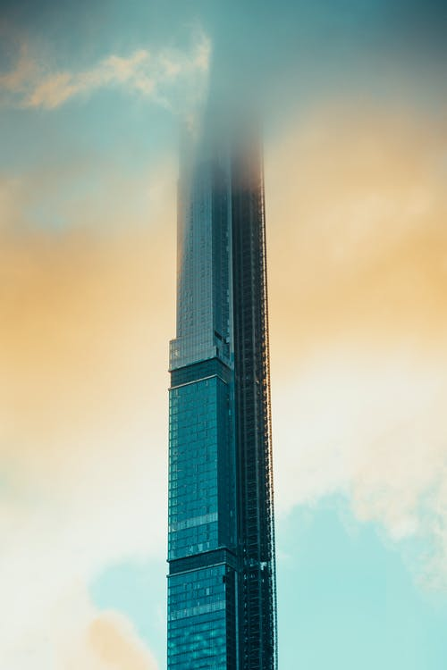High Rise Building Touching the Clouds