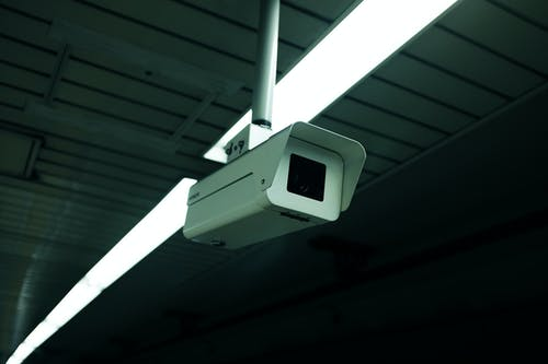White and Black Camera on White Steel Bar
