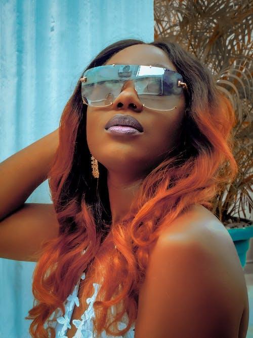 Woman in Black Framed Sunglasses