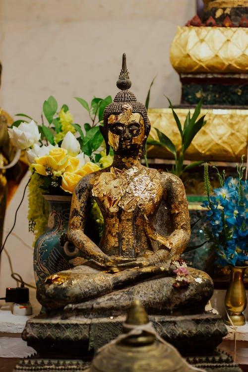 Gold and Blue Buddha Figurine