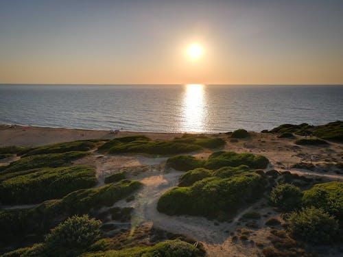 Sun shining over waving sea washing sandy shore