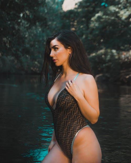 Woman Wearing A Fendi Swimsuit