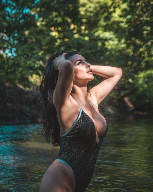 Woman Wearing Fendi Swimsuit