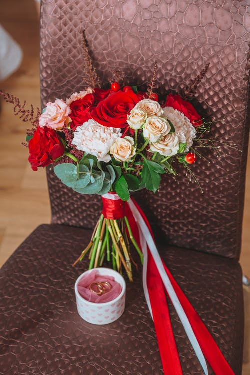 Bouquet of flowers on chair