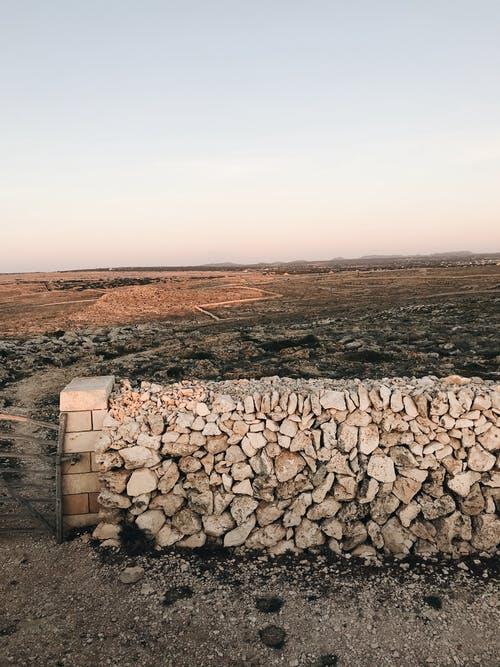 Stone fence in rural area