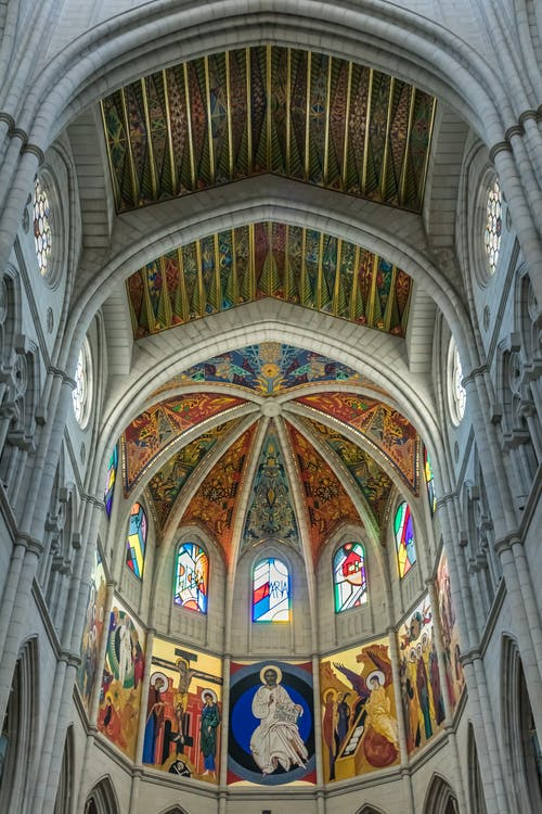 Cathedral's Ceiling Design In Low Angle Photography